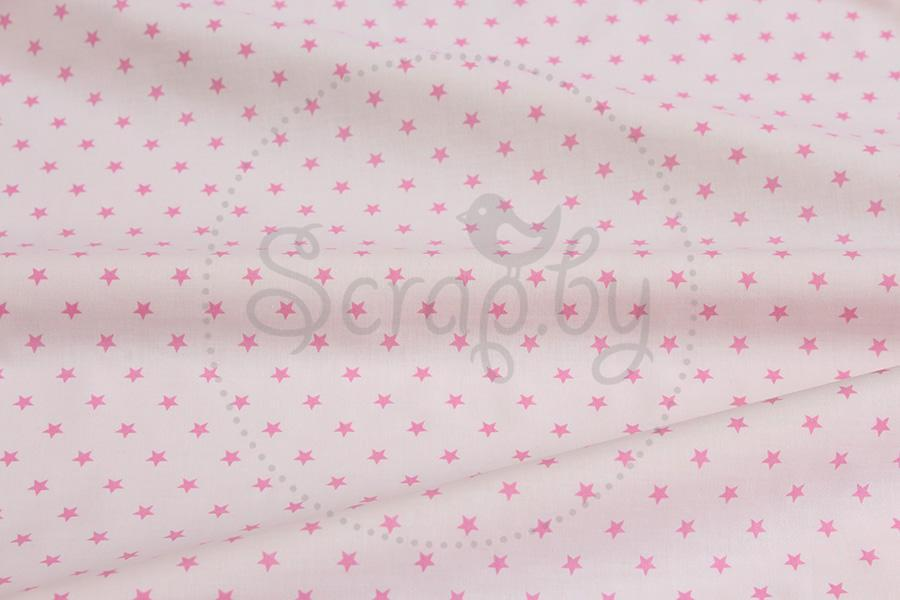 Хлопок Розовые звездочки 10мм на розовом - Scrap.by